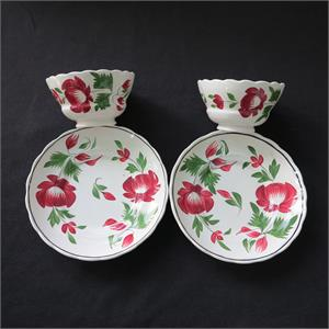 Early Adams Rose Cups & Saucers
