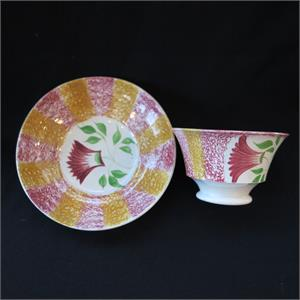 Yellow & Red Spatterware Thistle Cup & Saucer